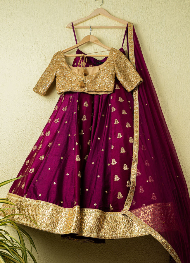 Mulberry Purple Gota Sequence Kalidar Lehenga With Gold Sequence Blouse Bridal Lehenga Set Lehenga Anisha Shetty