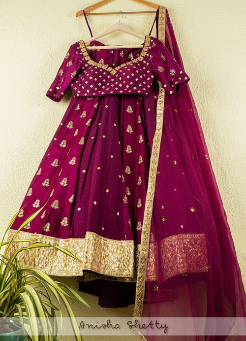 Mulberry Purple Gota Sequence Kalidar Lehenga With Mulberry Purple Blouse Bridal Lehenga Set Lehenga Anisha Shetty