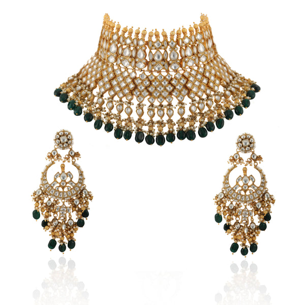 Multi Layered Bridal Necklace With Kundan and Green Beads Necklace Set Riana by Shikha Jindal