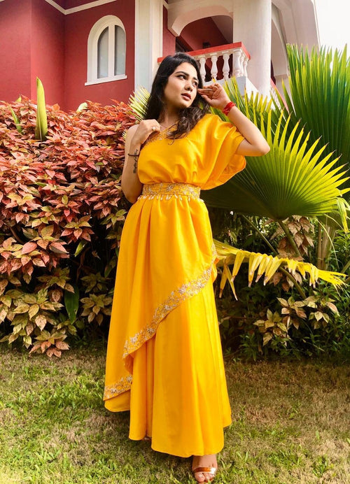Mustard One Shoulder Pleated Gown Fusion Rashika Sharma