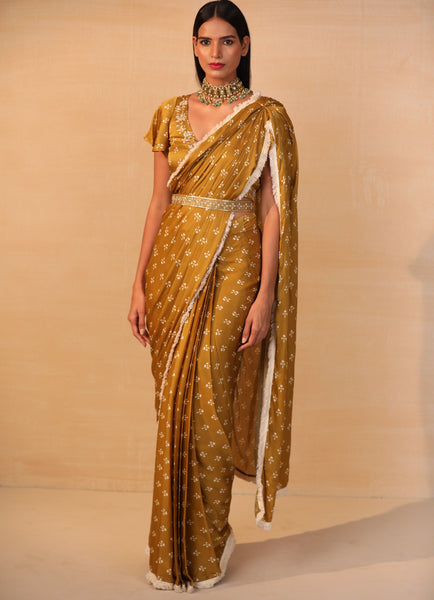 Mustard Pre Draped Printed Saree and Frill Blouse Set Saree Esha Koul