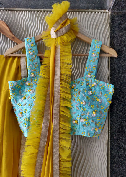 Mustard Ruffle Saree With Blue Embroidered Silk Blouse Saree Priti Sahni