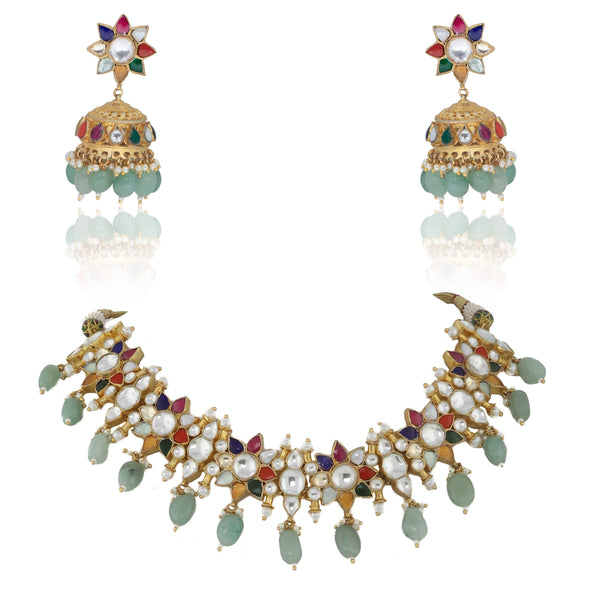 Navratna Flower Choker Set With Sea Green Beads Necklace Set Riana by Shikha Jindal