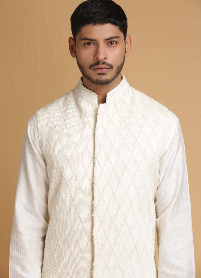 Off White Embroidered Nehru Jacket Set Men Chatenya Mittal