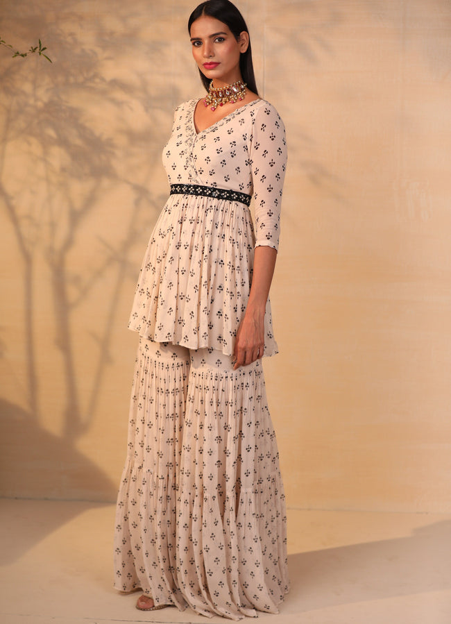 Off White Printed And Embroidered Gharara Set with Black Belt Suits Esha Koul