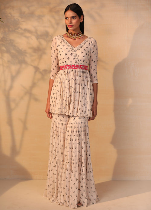 Off White Printed And Embroidered Gharara Set with Hot Pink Belt Suits Esha Koul