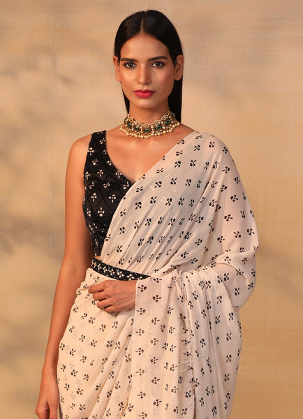 Off White Printed Ruffle Saree With Blouse and Belt Set Saree Esha Koul
