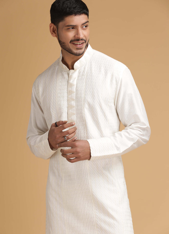 Off White Silk Kurta Set Men Chatenya Mittal