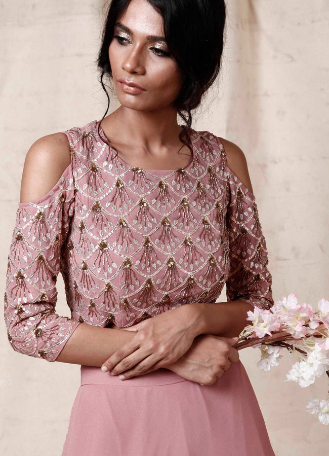 Onion Pink Embellished Crop Top With Skirt Fusion Esha Koul