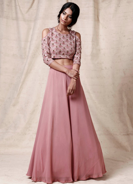 Gold Peach Blouse with Rose Red Tulle Skirt