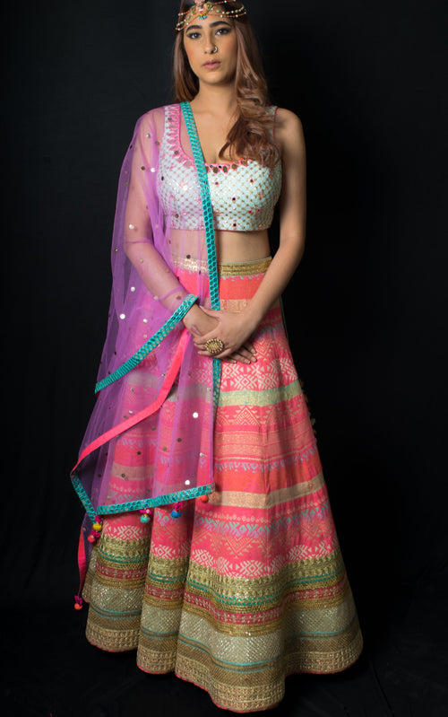 Pale Blue and Rasberry Lehenga Set Lehenga Avnni Kapur