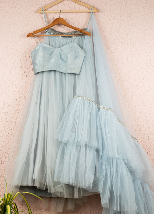Pale Blue Tulle Lehenga With Pale Blue Bustier Blouse and Frill Duptta Lehenga Anisha Shetty