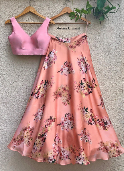Paradise Skirt With Blush Pink Blouse Lehenga Shrena Hirawat