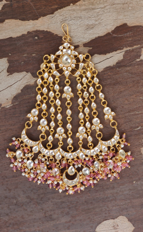 Passa Studded White Jadtar Stones, Beaded With Light Pink Beads Head Sets Riana by Shikha Jindal