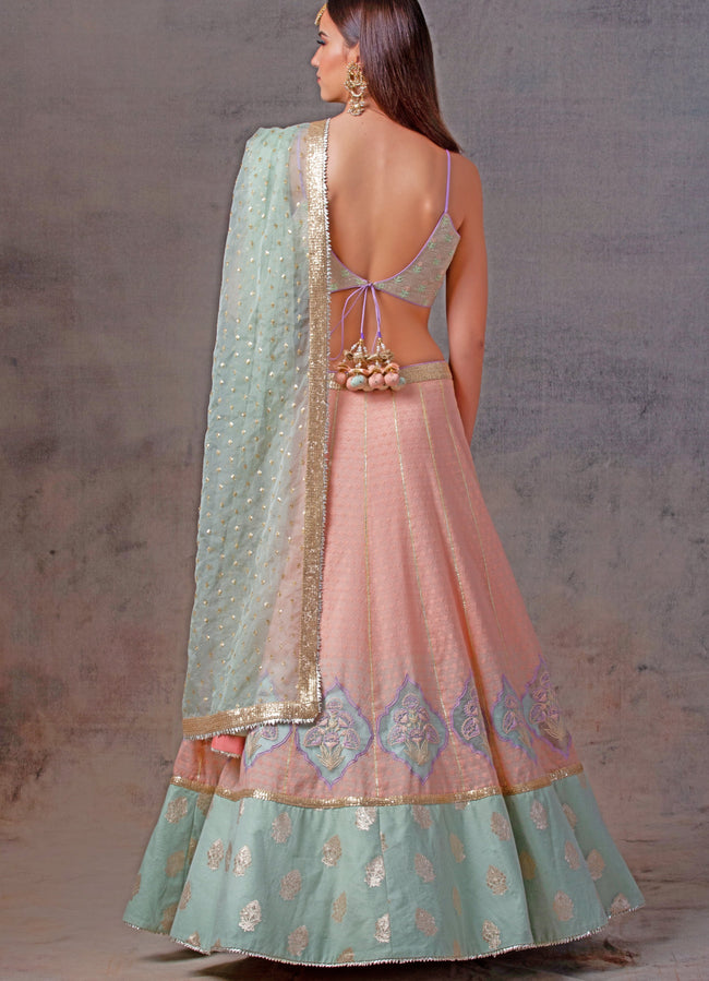 Peach and Mint Chanderi Lehenga Set Lehenga Avnni Kapur