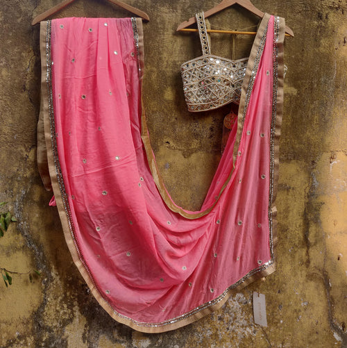 Peach Chiffon Saree with Bustier Mirrorwork Blouse Saree Priti Sahni
