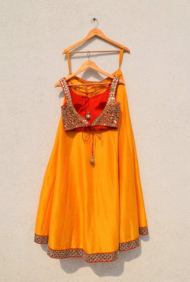 Peach Dupatta With Red Mirror Blouse And Mango Lehenga Lehenga Anisha Shetty