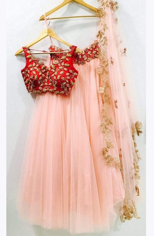 Peach Rose Pink Lehenga With Red Zardosi Blouse Lehenga Anisha Shetty
