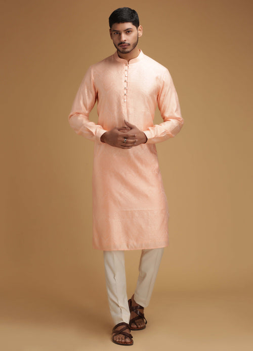Peach Silk Kurta Set Men Chatenya Mittal