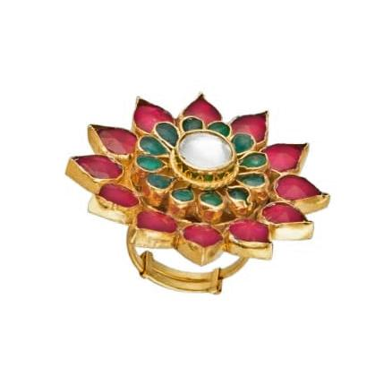 Pink And Green Flower Ring Ring Riana by Shikha Jindal