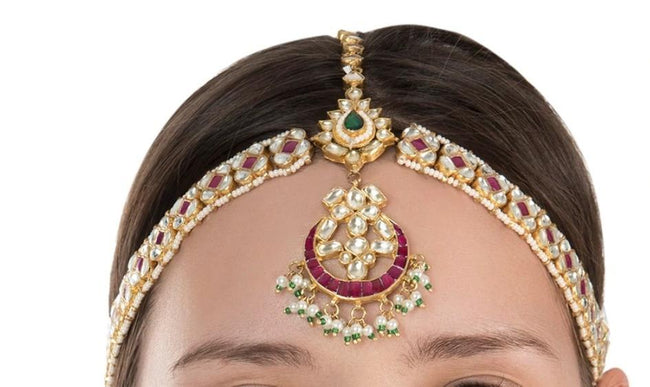 Pink And White Mathapatti Head Sets Riana by Shikha Jindal