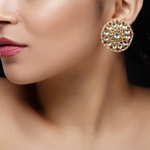 Pink And White Studs Earrings Earrings Riana by Shikha Jindal