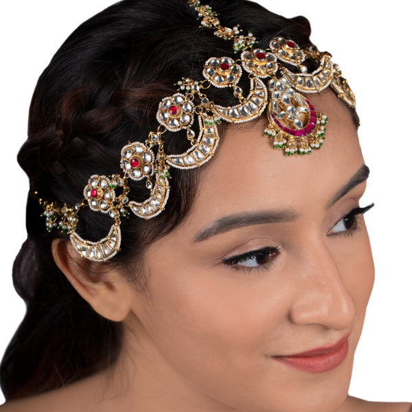 Pink Stone Chand Mathapatti Head Sets Riana by Shikha Jindal