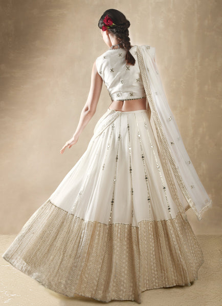 Porcelain White and Gold Lehenga Set Lehenga Renee