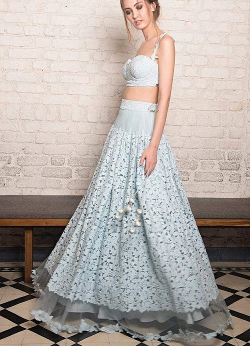 Powder Blue Crop Top Set Lehenga The Little Black Bow