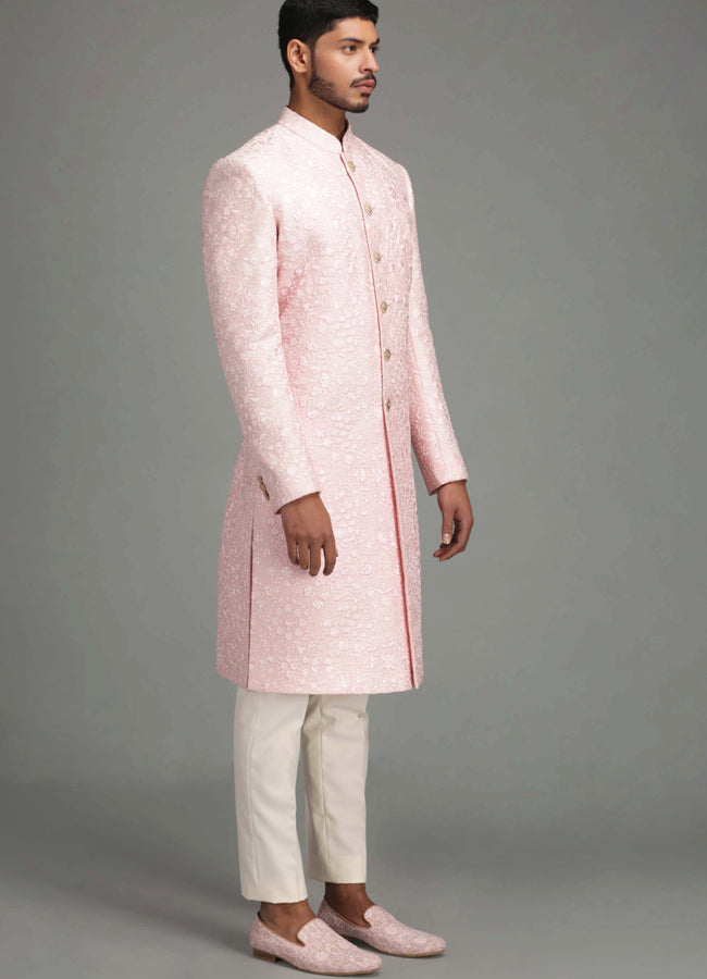 Powder Pink Floral Embroidery Sherwani Set Men Chatenya Mittal
