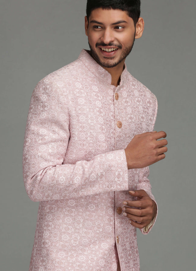 Powder Pink Geometric Embroidered Sherwani Set Men Chatenya Mittal