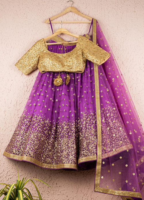 Purple & Gold Lehenga Set Lehenga Anisha Shetty
