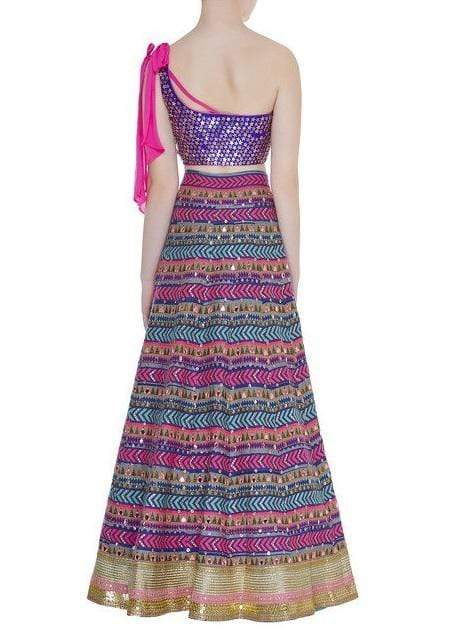 Purple One Shoulder Blouse with Benarsi Lehenga Lehenga Avnni Kapur