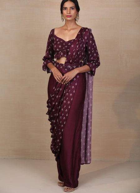 Lavendar & Silver Georgette One Shoulder Gown
