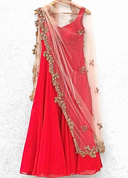 Fire Orange Lehenga With Pleated Hot Pink Blouse & Fire Orange Dupatta