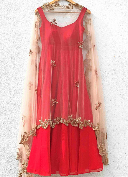 Red Anarkali with Rose Pink Embroidered Dupatta Ready to Ship Anisha Shetty