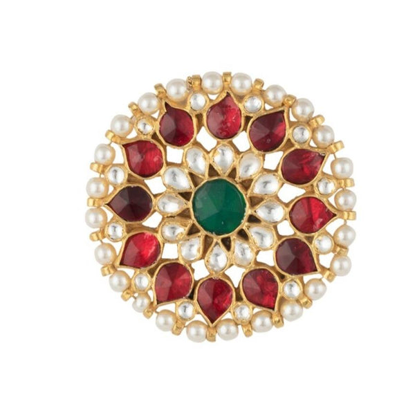 Red And Green Flower Ring Ring Riana by Shikha Jindal