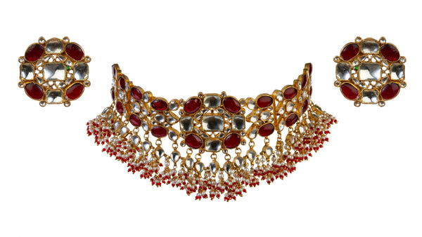 Red And White Floral Choker Set Necklace Set Riana by Shikha Jindal