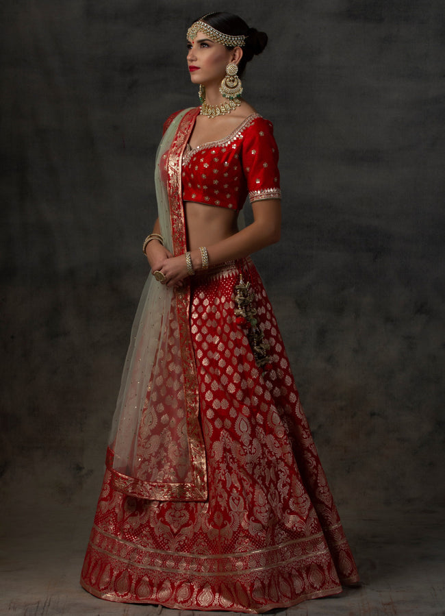 Red Benarsi Brocade Lehenga with Red Embroidered Blouse and Mint Green Dupatta Lehenga Avnni Kapur