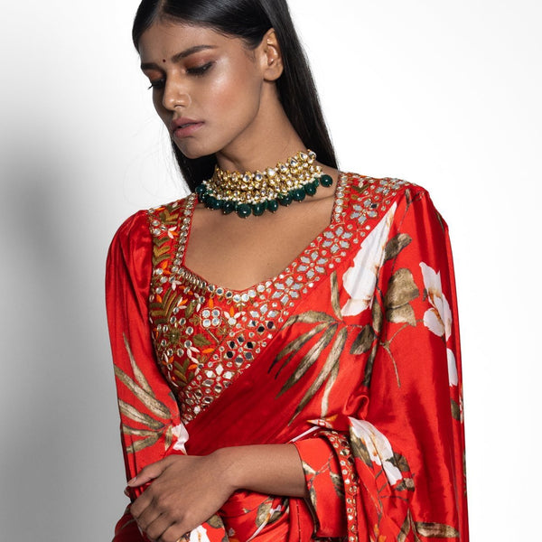 Red Prestitched Saree with Exaggerated Sleeve Hand Embroidered Blouse Saree Juhi Bengani