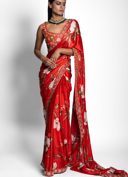 Red Prestitched Saree with Hand Embroidered Classic Blouse Saree Juhi Bengani