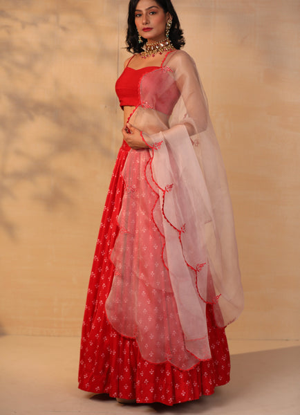 Red Printed Skirt Set Lehenga Esha Koul