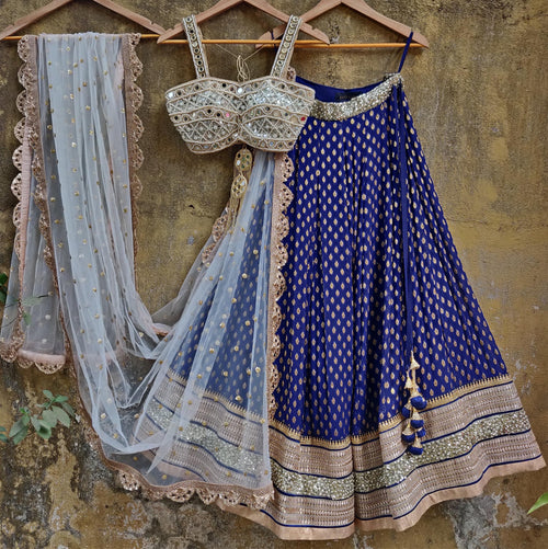 Royal Blue Lehenga Set with Bustier Mirror work Blouse and Ivory Dupatta Lehenga Priti Sahni