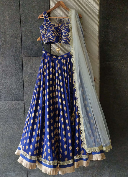 Royal Blue Ruffle Shimmer Lehenga Set with Blue Sequins Blouse and Off White Dupatta Lehenga Priti Sahni