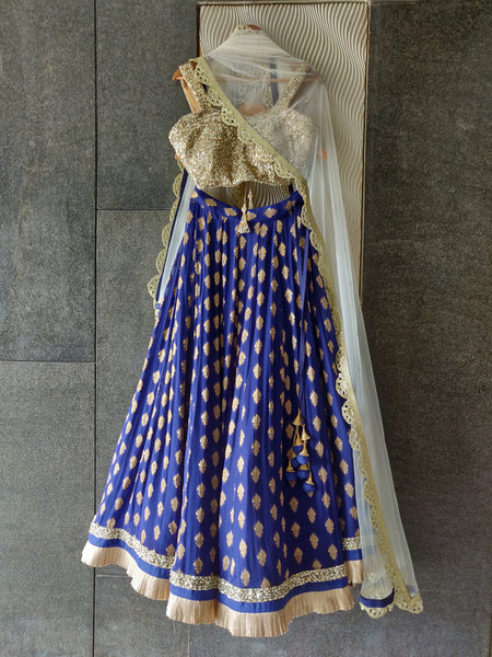 Royal Blue Ruffle Shimmer Lehenga Set with Sequins Blouse and Off White Dupatta Lehenga Priti Sahni