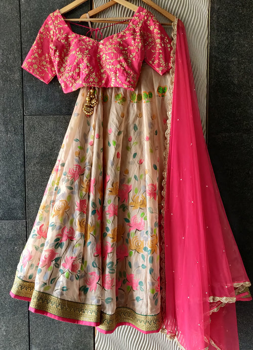 Ruby pink and Ivory Floral hand painted lehenga set Lehenga Priti Sahni