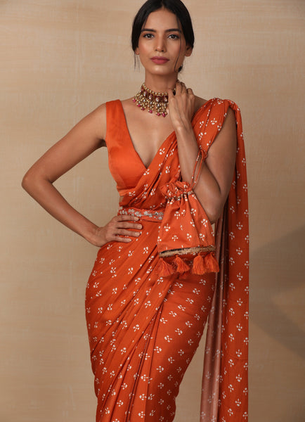 Rust Printed Saree Set Saree Esha Koul