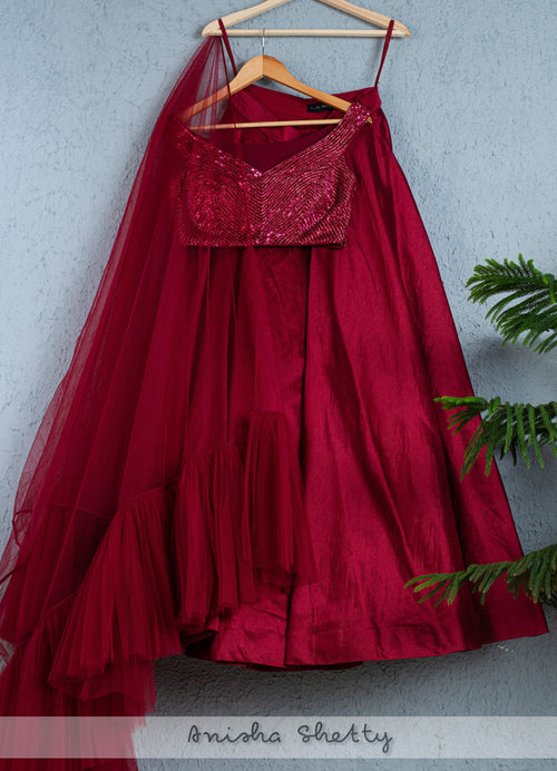 Sangria Lehenga With Sequence Blouse And Frill Dupatta Lehenga Anisha Shetty