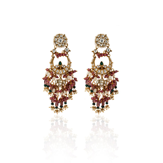 Small Chand Baalis Earrings With Light Pink Beads And Small Green Beads Earrings Riana by Shikha Jindal