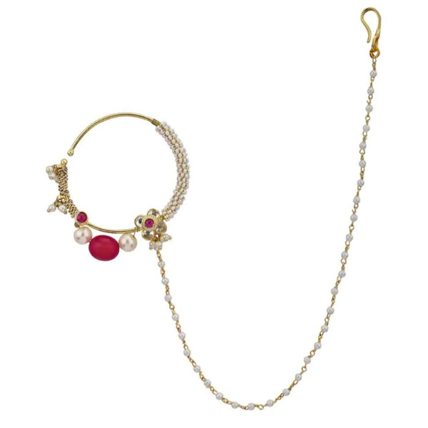 Small Flower Nath With Pearl And Ruby Beads Naths Riana by Shikha Jindal
